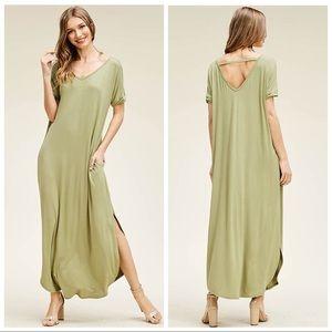 Dresses & Skirts - CALLIE SHORT SLEEVE MOSS GREEN LOOSE T SHIRT DRESS